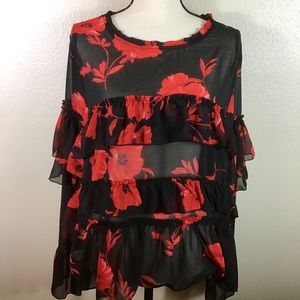 EUC- Forever 21+ Black And Red Floral Blouse
